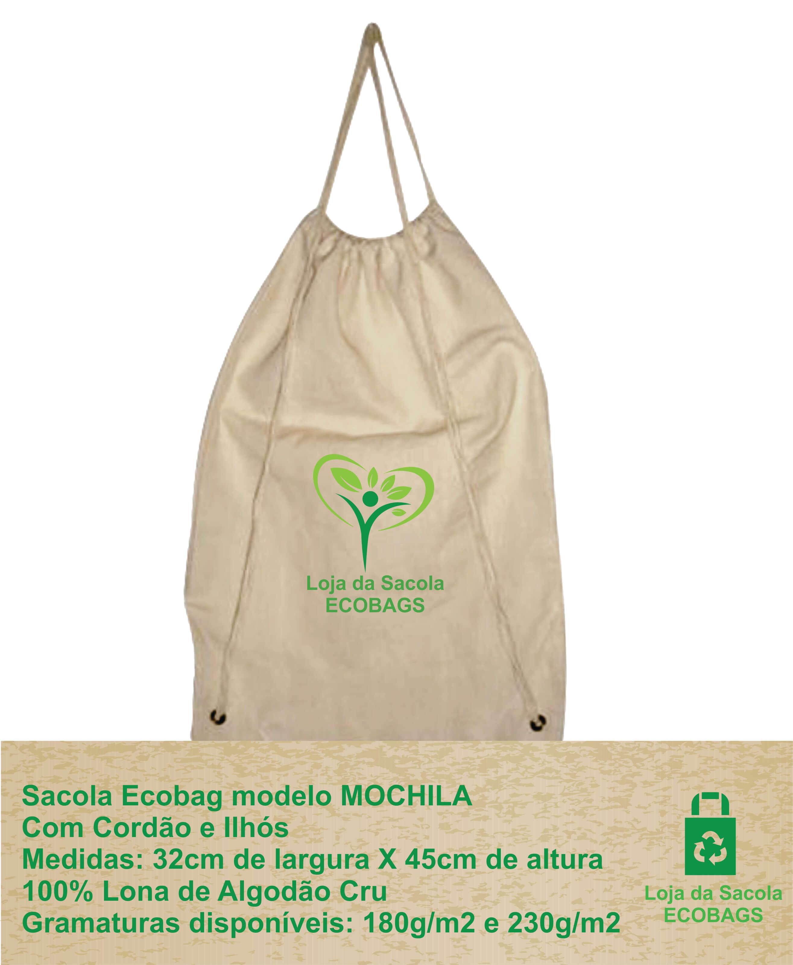 Sacola Ecobag - Modelo Mochila com Cordão e Ilhós